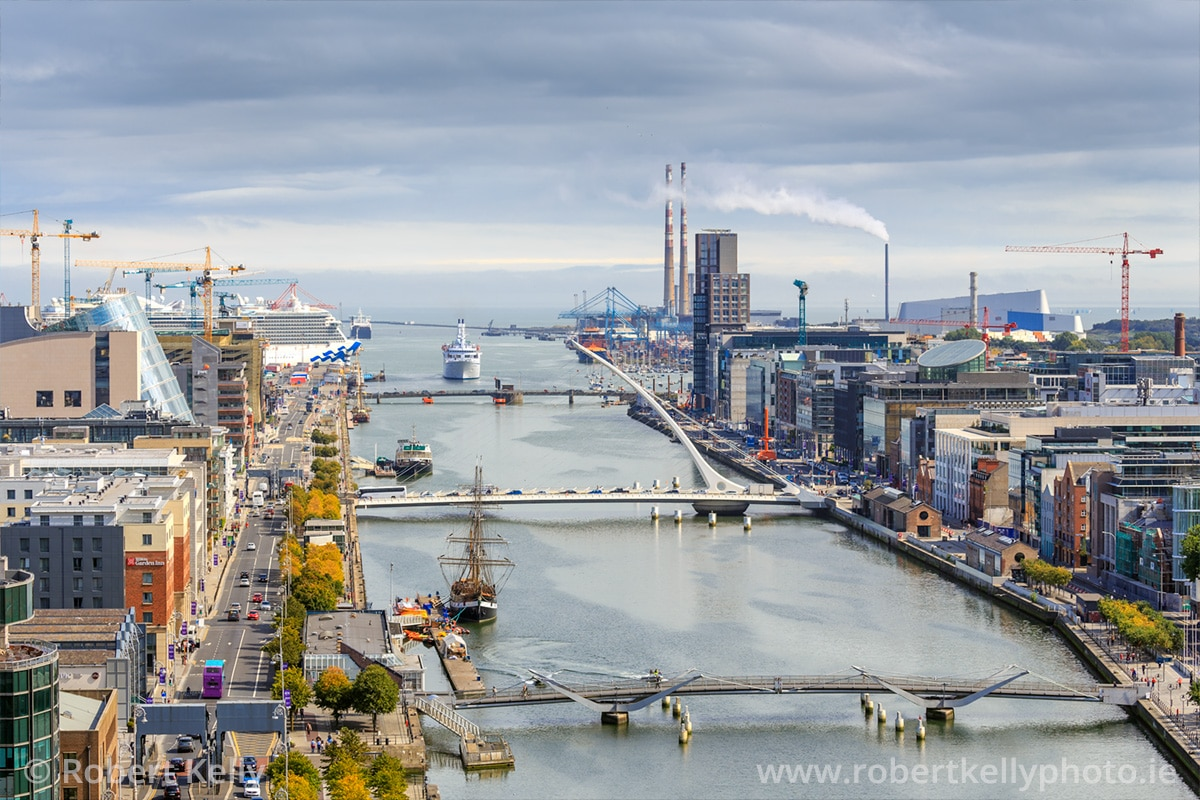 View of the River Liffey and Docklands towards Dublin Port