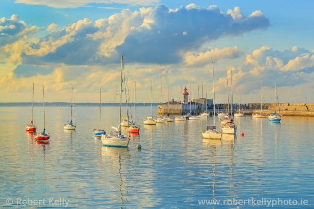 Yachts moored at the East Pier Dun Laoghaire Harbour on a summers evening