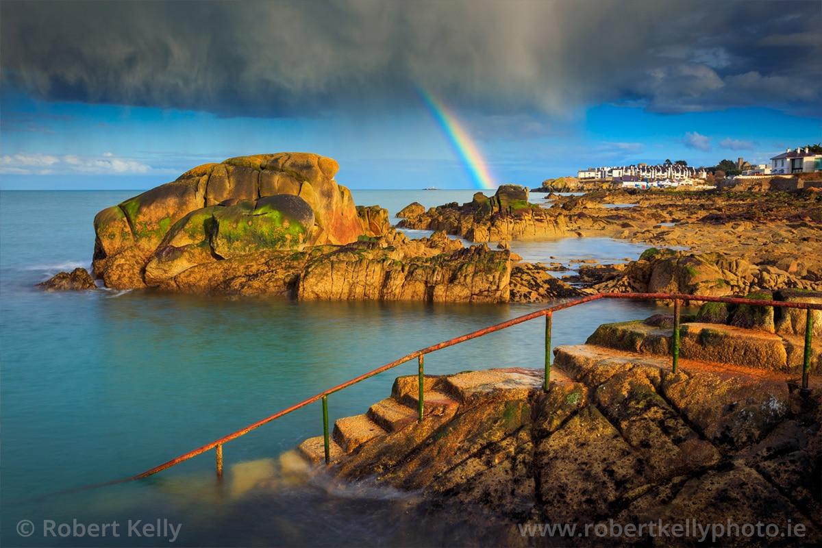 A rainbow over the Forty Foot bathing place, Sandycove, County Dublin