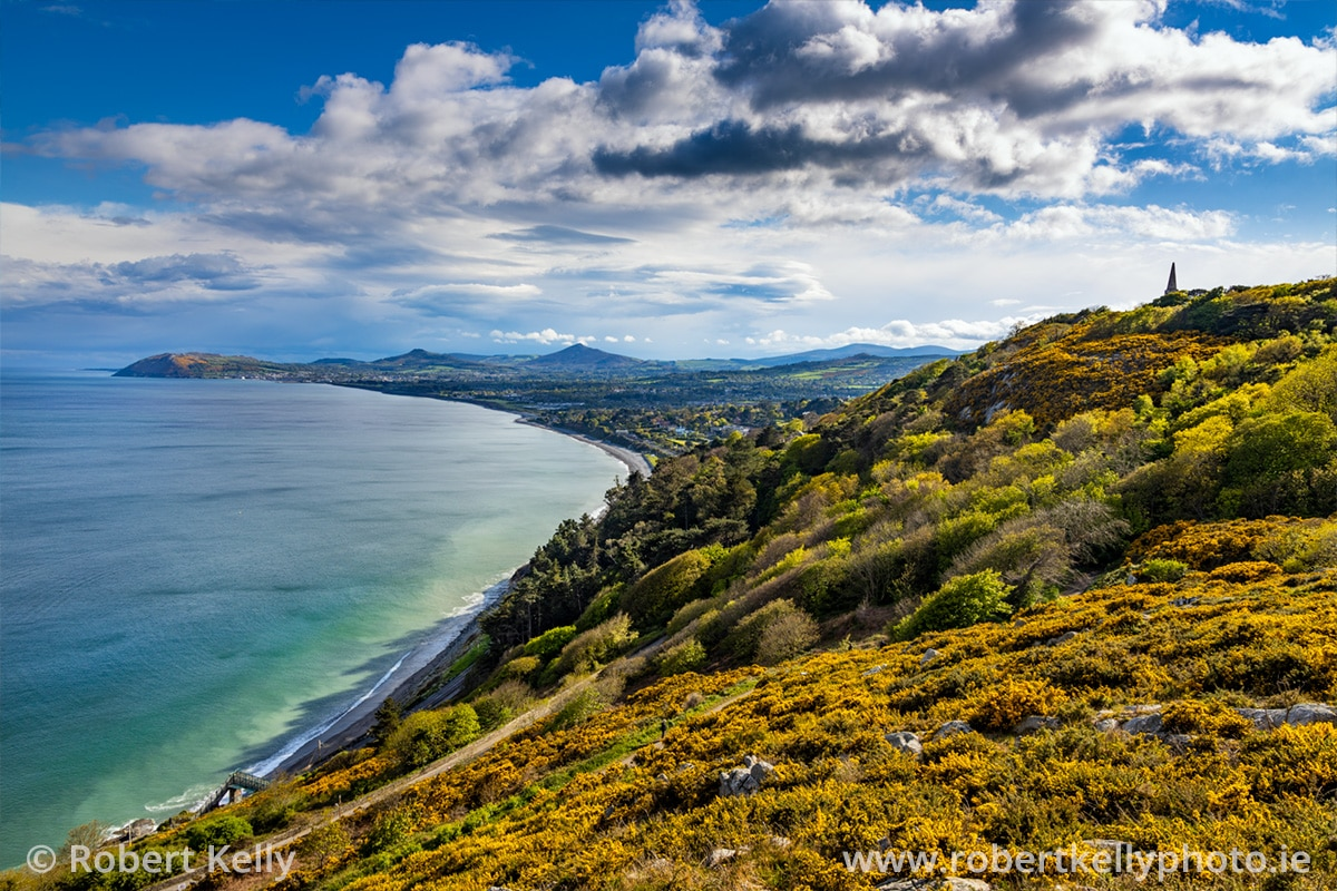 View looking south across Killiney Bay towards the Wicklow Mountains