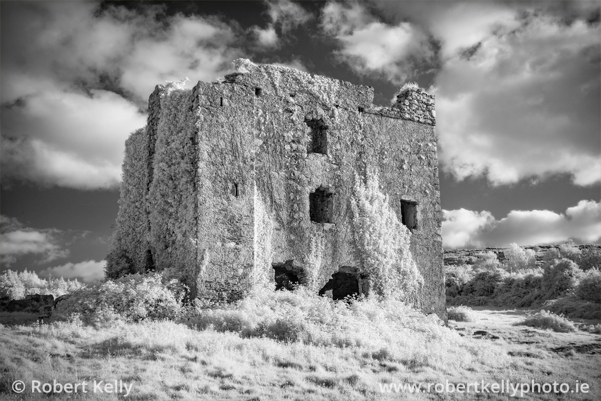 A monochrome infrared image of Puck's Castle, Rathmichael, County Dublin