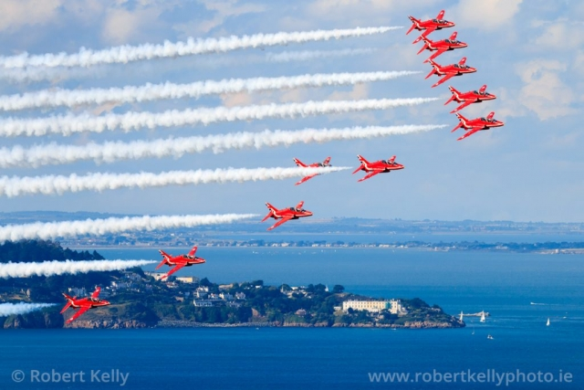The RAF Red Arrows over Killiney Bay