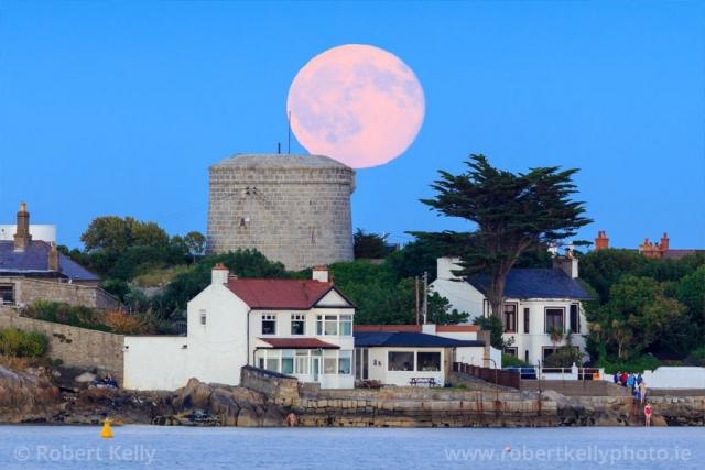 Full moon rising behind the Joyce Tower, Sandycove, County Dublin