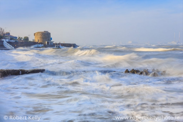 Spring tide at the Martello tower, Seapoint, Dublin Bay