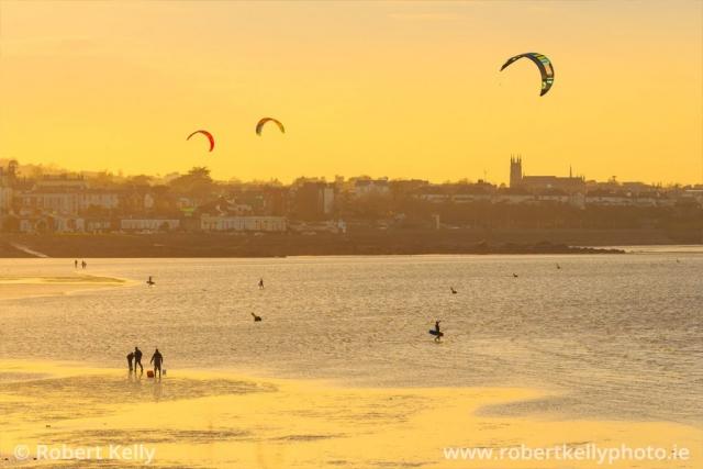 Kite surfers at Seapoint Beach, Monkstown, Dublin Bay