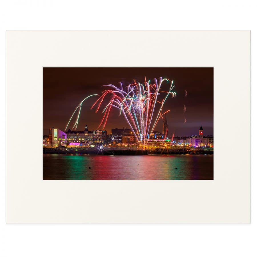 "Fireworks display in Dun Laoghaire Harbour 11"" x 14"" print"