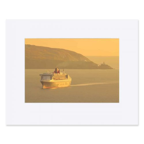 "The RMS Queen Mary 2 entering Dublin Bay. Fine Art Print 11"" x 14"""