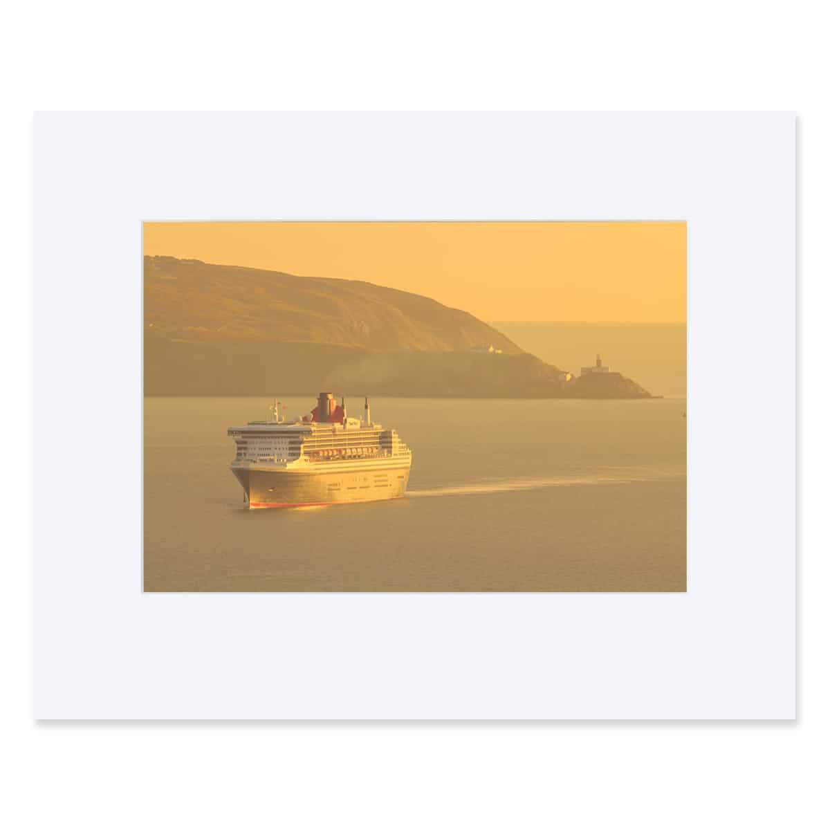 """The RMS Queen Mary 2 entering Dublin Bay. Fine Art Print 11"""" x 14"""""""