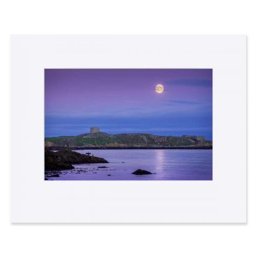The full moon rises over Dalkey Island. Fine art print 11 x 14 inches