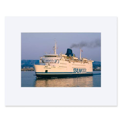 Mv St Columba departing Dun Laoghaire Harbour c.1988. Fine art print from colour transparency 11 x 14 inches