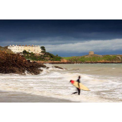"Surfer at Whiterock Beach Co. Dublin © Robert Kelly. Fine art print 11"" x 14"""