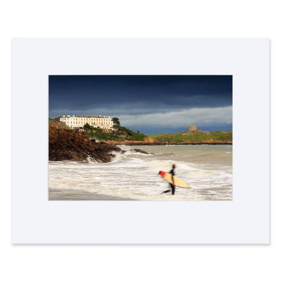 "A surfer enters the Water at Whiterock Beach. Fine art print 11"" x 14"""