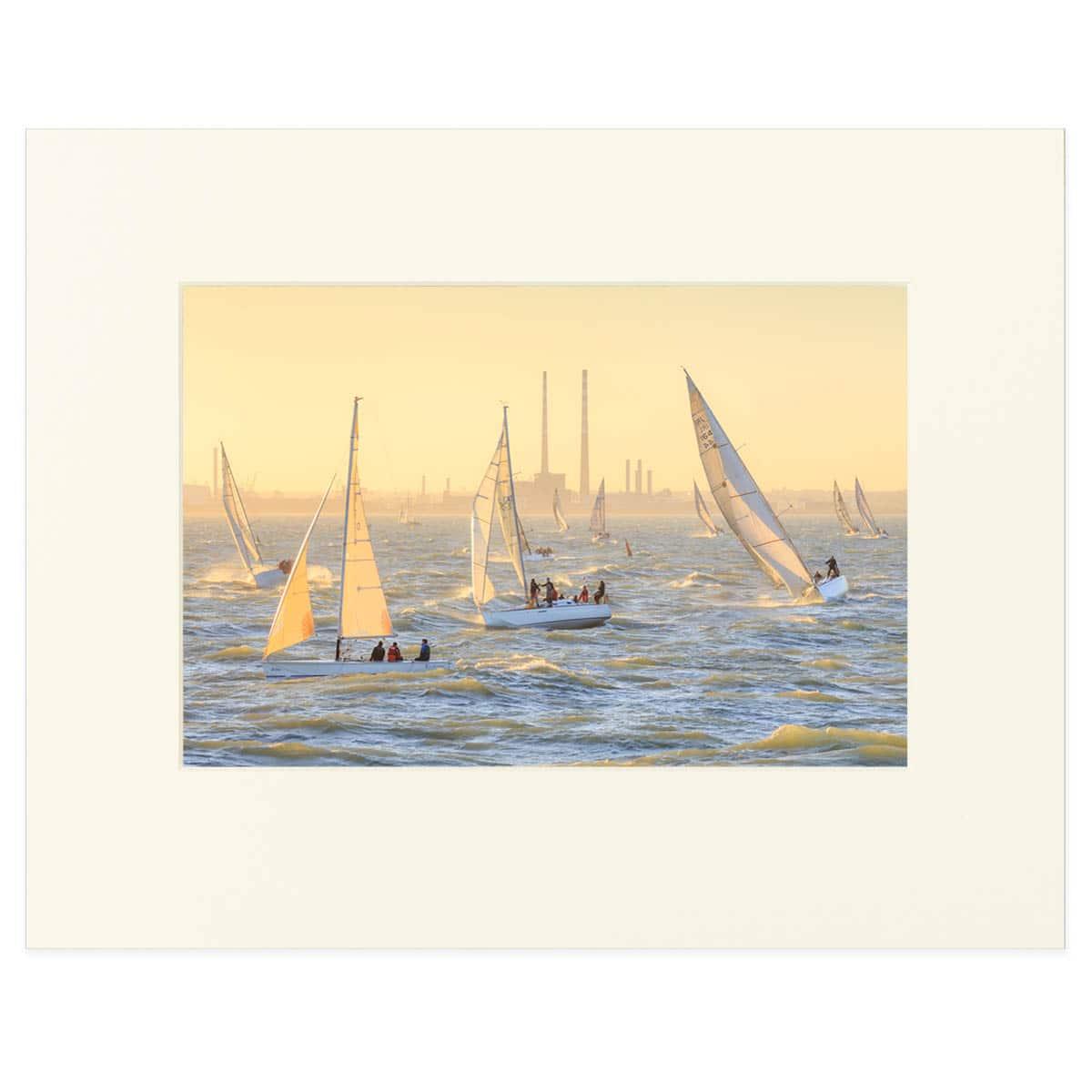 A Regatta on Dublin Bay matted print