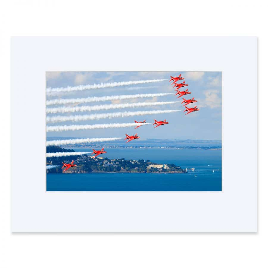The Red Arrows over Killiney Bay. Fine art ptint 11 x 14 inches